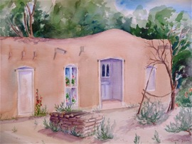 Adobe Home Near Taos NM - 18x23, Watercolor, $450 (framed)