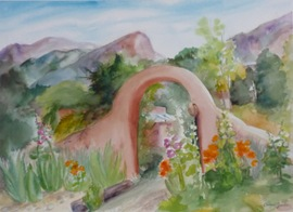 Archway at St. Geronimo Lodge - 18x25, Watercolor, $600 (unframed)