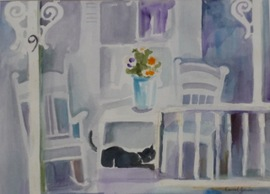 Cat on the Porch - 23.5x30, Watercolor, $485 (framed)