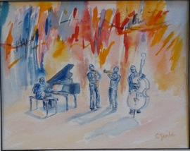 George M. and Friends - 11.75x14.75, Watercolor, $200 (framed)