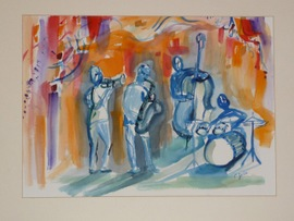 Jazz at the Pointe - 23.5x28, Watercolor, $700 (framed) (available in 16x20 matted print for $60)