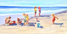 Children At the Beach - Oil
