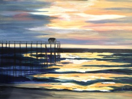 Sunset At the Pier - Oil