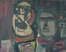 106 ~ Cubistic Couple ~ 2004 22x28 ~ Oil on canvas ~ Unframed ~ SOLD ~ $300.00 ~ 4/2009