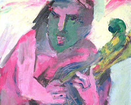 138 ~ Musician/Green Face 22x28 ~ Oil on canvas ~ Framed ~ $600.00