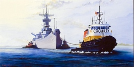 Welcome Home USS New Jersey - 24x48, Oil